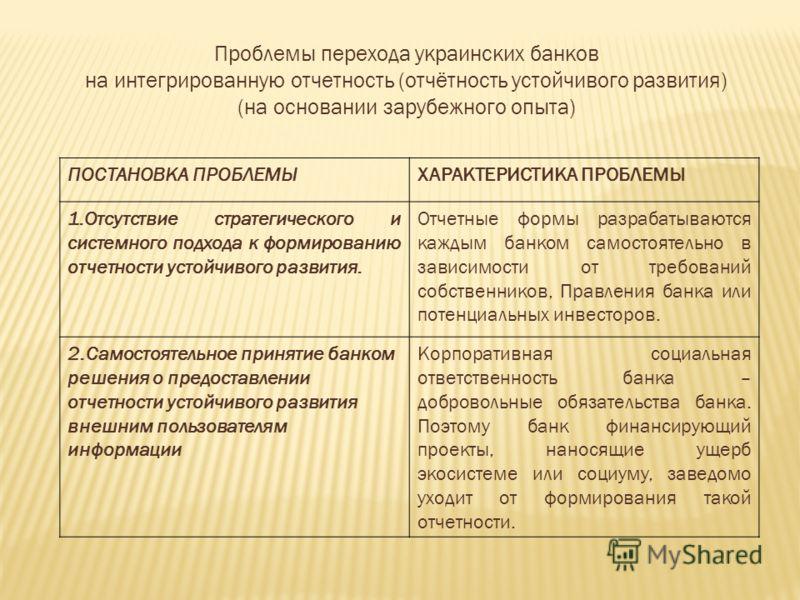 Проблемы перехода украинских банков на интегрированную отчетность (отчётность устойчивого развития) (на основании зарубежного опыта) ПОСТАНОВКА ПРОБЛЕМЫХАРАКТЕРИСТИКА ПРОБЛЕМЫ 1.Отсутствие стратегического и системного подхода к формированию отчетност