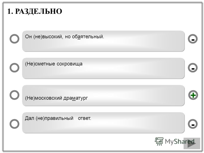 1. РАЗДЕЛЬНО Он (не)высокий, но обаятельный. (Не)сметные сокровища (Не)московский драматург Дал (не)правильный ответ. - - + -