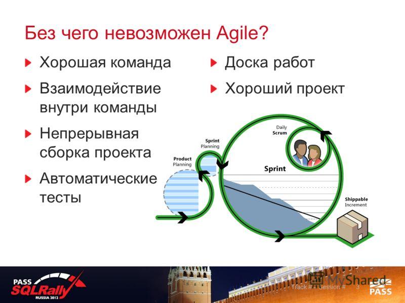 Без чего невозможен Agile? Хорошая команда Взаимодействие внутри команды Непрерывная сборка проекта Автоматические тесты Доска работ Хороший проект 3Track # – Session #