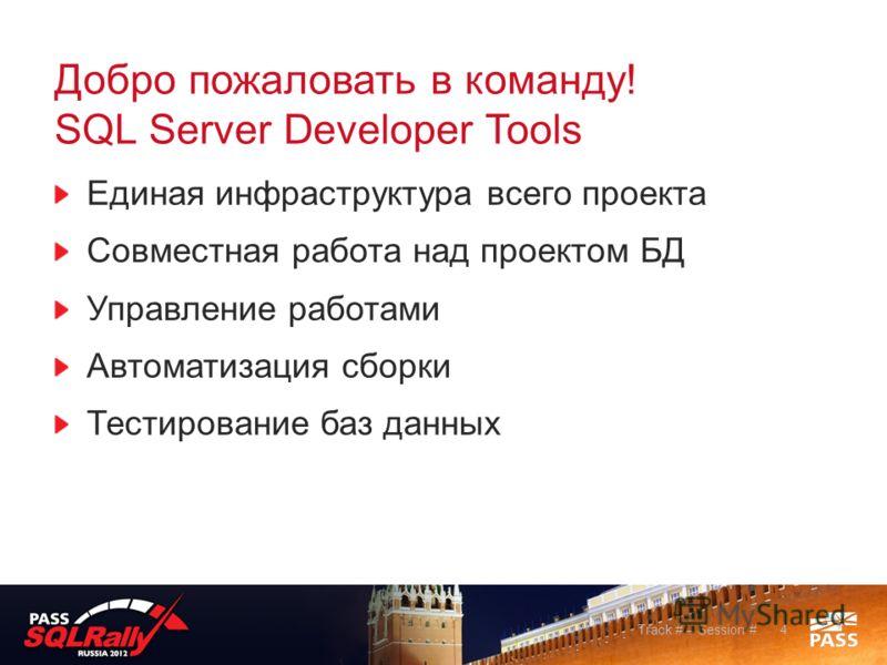 Добро пожаловать в команду! SQL Server Developer Tools Единая инфраструктура всего проекта Совместная работа над проектом БД Управление работами Автоматизация сборки Тестирование баз данных Track # – Session #4