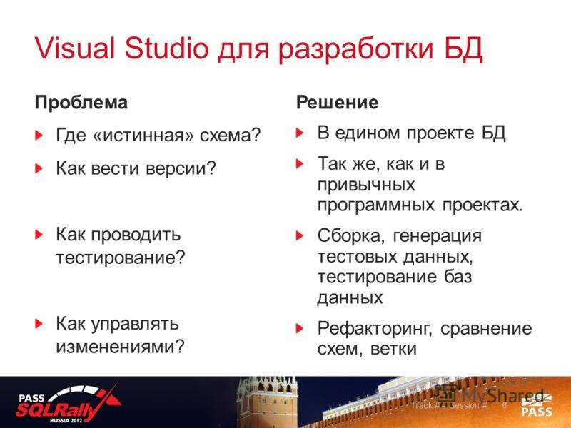 Visual Studio для разработки БД Проблема Где «истинная» схема? Как вести версии? Как проводить тестирование? Как управлять изменениями? Решение В едином проекте БД Так же, как и в привычных программных проектах. Сборка, генерация тестовых данных, тес