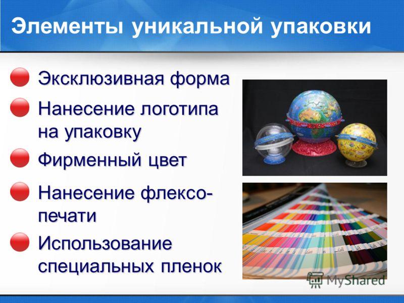 Элементы уникальной упаковки Эксклюзивная форма Нанесение логотипа на упаковку Фирменный цвет Нанесение флексо- печати Использование специальных пленок