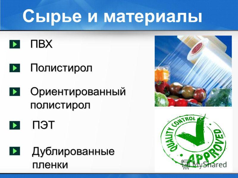 Сырье и материалыПВХПолистирол Ориентированный полистирол ПЭТ Дублированные пленки