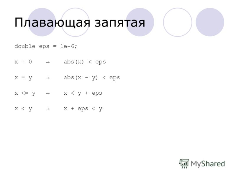 Плавающая запятая double eps = 1e-6; x = 0 abs(x) < eps x = y abs(x – y) < eps x