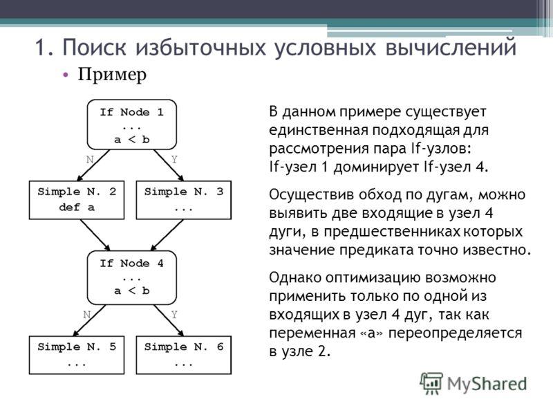В данном примере существует единственная подходящая для рассмотрения пара If-узлов: If-узел 1 доминирует If-узел 4. Осуществив обход по дугам, можно выявить две входящие в узел 4 дуги, в предшественниках которых значение предиката точно известно. Одн