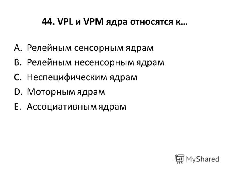 44. VPL и VPM ядра относятся к… A.Релейным сенсорным ядрам B.Релейным несенсорным ядрам C.Неспецифическим ядрам D.Моторным ядрам E.Ассоциативным ядрам