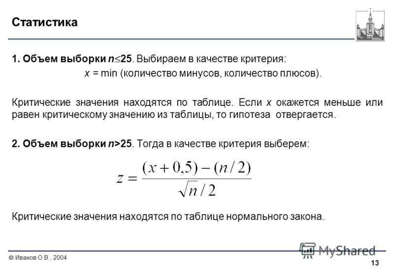 13 Иванов О.В., 2004 Статистика 1. Объем выборки n 25. Выбираем в качестве критерия: x = min (количество минусов, количество плюсов). Критические значения находятся по таблице. Если x окажется меньше или равен критическому значению из таблицы, то гип