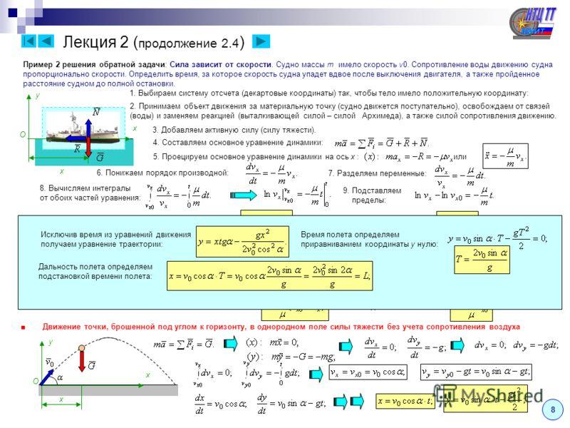Лекция 2 ( продолжение 2.4 ) Пример 2 решения обратной задачи: Сила зависит от скорости. Судно массы m имело скорость v0. Сопротивление воды движению судна пропорционально скорости. Определить время, за которое скорость судна упадет вдвое после выклю