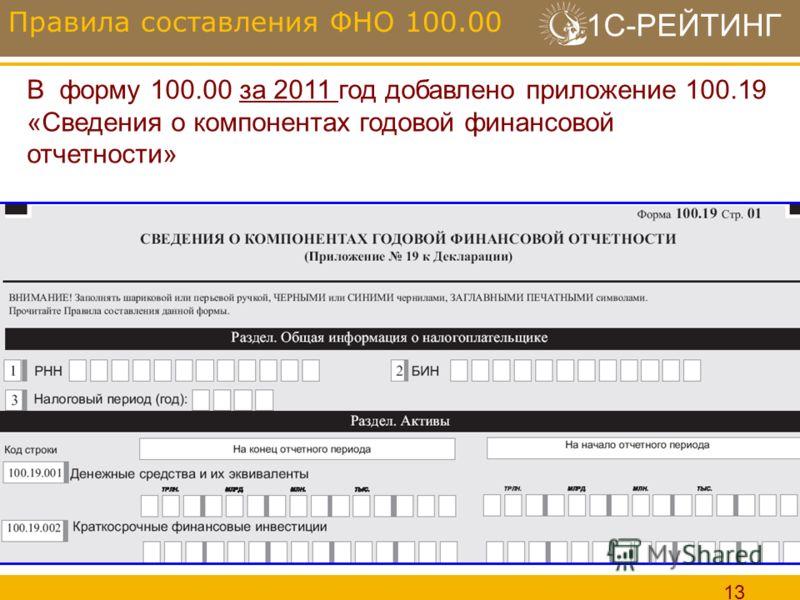 1С-РЕЙТИНГ 13 Правила составления ФНО 100.00 В форму 100.00 за 2011 год добавлено приложение 100.19 «Сведения о компонентах годовой финансовой отчетности»