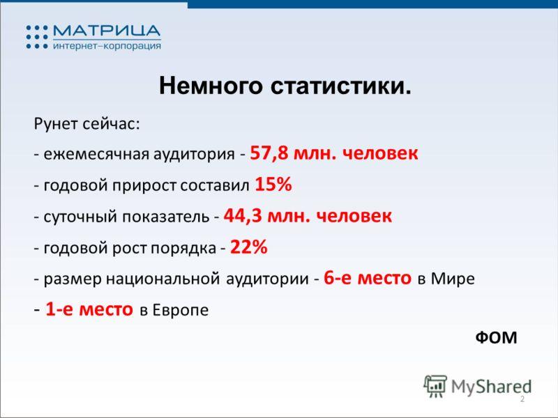 Немного статистики. Рунет сейчас: - ежемесячная аудитория - 57,8 млн. человек - годовой прирост составил 15% - суточный показатель - 44,3 млн. человек - годовой рост порядка - 22% - размер национальной̆ аудитории - 6-е место в Мире - 1-е место в Евро