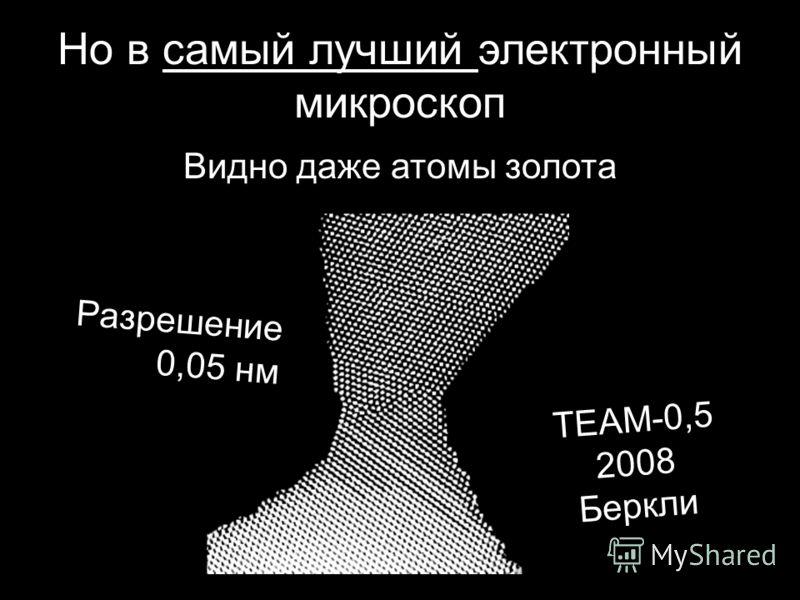 Но в самый лучший электронный микроскоп Видно даже атомы золота Разрешение 0,05 нм TEAM-0,5 2008 Беркли
