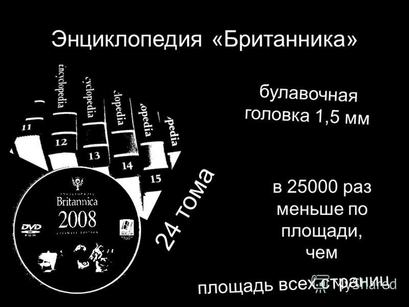 Энциклопедия «Британника» 24 тома булавочная головка 1,5 мм в 25000 раз меньше по площади, чем площадь всех страниц