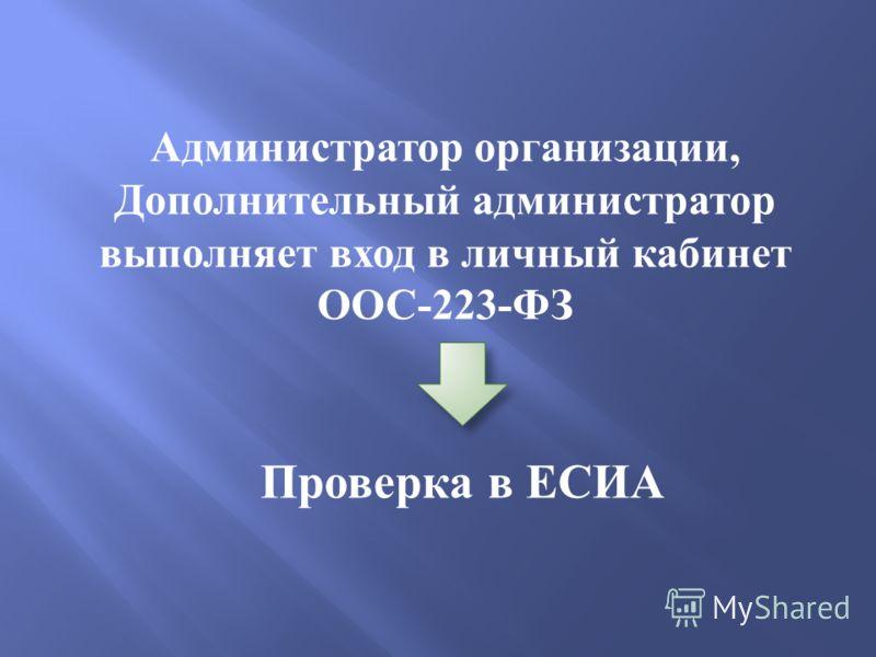 Администратор организации, Дополнительный администратор выполняет вход в личный кабинет ООС -223- ФЗ Проверка в ЕСИА