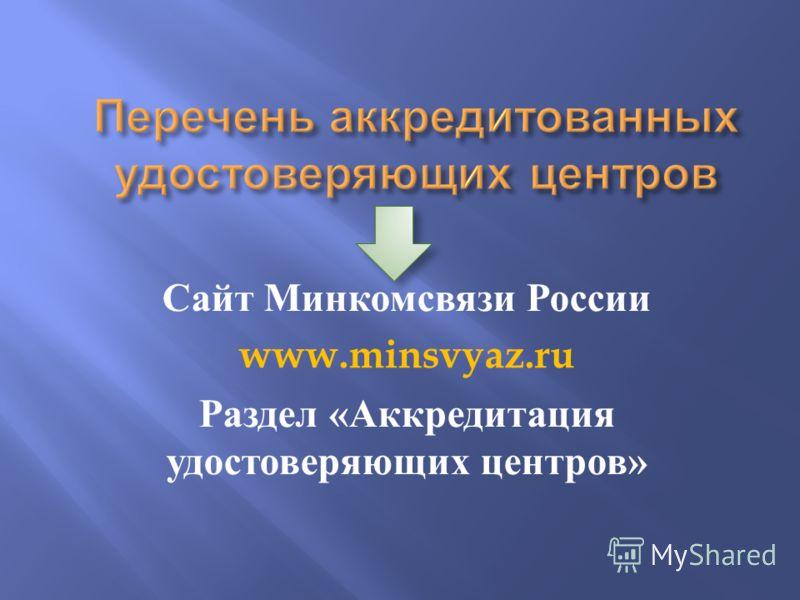 Сайт Минкомсвязи России www.minsvyaz.ru Раздел « Аккредитация удостоверяющих центров »