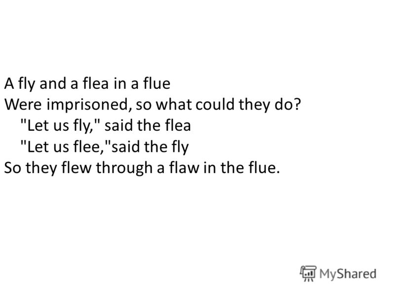 A fly and a flea in a flue Were imprisoned, so what could they do? Let us fly, said the flea Let us flee,said the fly So they flew through a flaw in the flue.