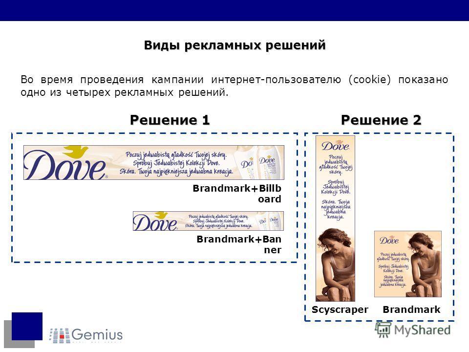 Во время проведения кампании интернет-пользователю (cookie) показано одно из четырех рекламных решений. Виды рекламных решений Brandmark+Ban ner Brandmark+Billb oard Решение 1 Решение 2 ScyscraperBrandmark