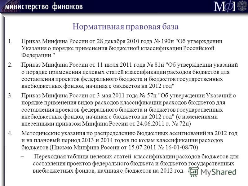 Нормативная правовая база 1.Приказ Минфина России от 28 декабря 2010 года 190н