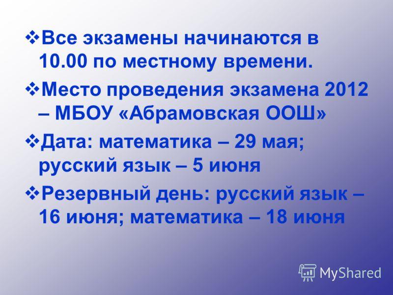 Все экзамены начинаются в 10.00 по местному времени. Место проведения экзамена 2012 – МБОУ «Абрамовская ООШ» Дата: математика – 29 мая; русский язык – 5 июня Резервный день: русский язык – 16 июня; математика – 18 июня