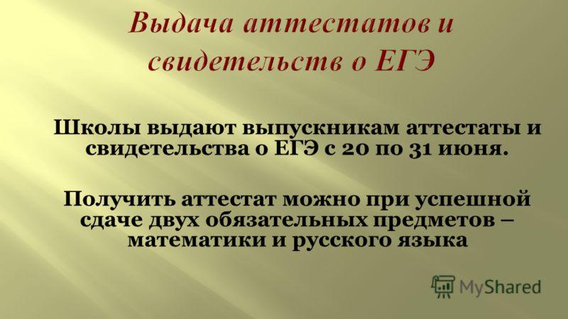 Школы выдают выпускникам аттестаты и свидетельства о ЕГЭ с 20 по 31 июня. Получить аттестат можно при успешной сдаче двух обязательных предметов – математики и русского языка