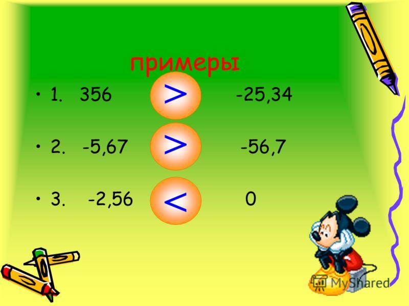 примеры 1. 356 И -25,34 2. -5,67 И -56,7 3. -2,56 И 0 < <