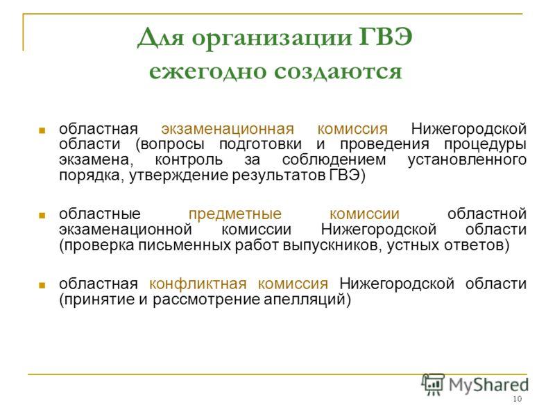 10 Для организации ГВЭ ежегодно создаются областная экзаменационная комиссия Нижегородской области (вопросы подготовки и проведения процедуры экзамена, контроль за соблюдением установленного порядка, утверждение результатов ГВЭ) областные предметные
