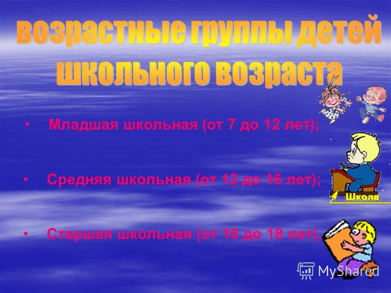 Младшая школьная (от 7 до 12 лет); Средняя школьная (от 12 до 16 лет); Старшая школьная (от 16 до 18 лет).