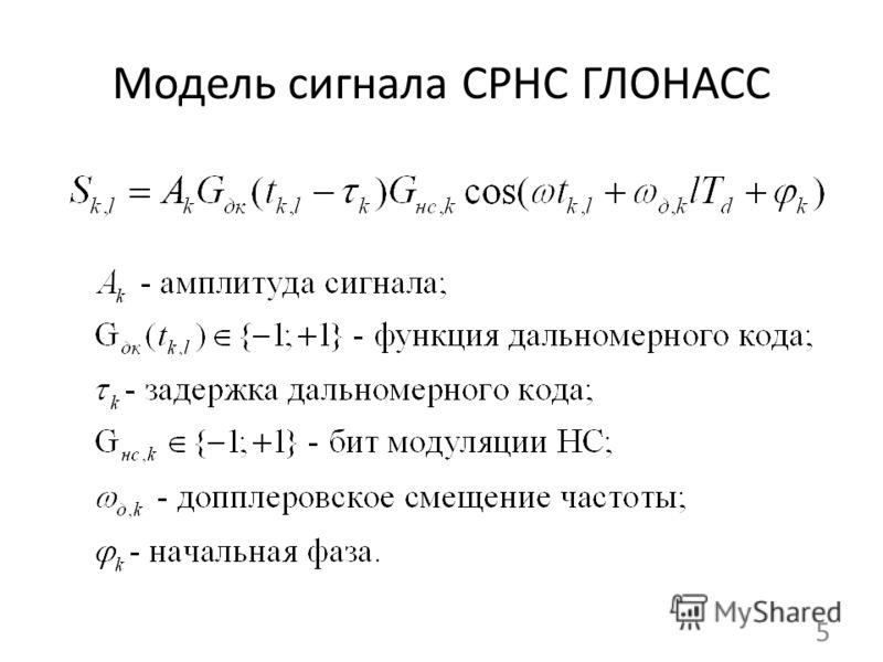 Модель сигнала СРНС ГЛОНАСС 5