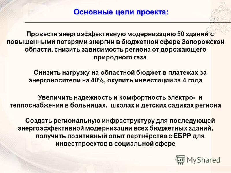 Основные цели проекта: Провести энергоэффективную модернизацию 50 зданий с повышенными потерями энергии в бюджетной сфере Запорожской области, снизить зависимость региона от дорожающего природного газа Снизить нагрузку на областной бюджет в платежах