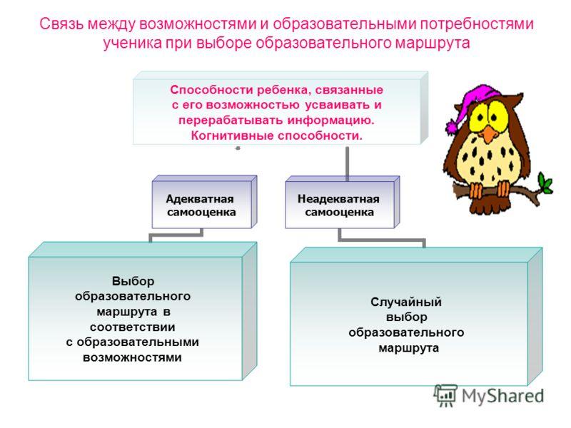 Связь между возможностями и образовательными потребностями ученика при выборе образовательного маршрута Способности ребенка, связанные с его возможностью усваивать и перерабатывать информацию. Когнитивные способности. Адекватная самооценка Выбор обра