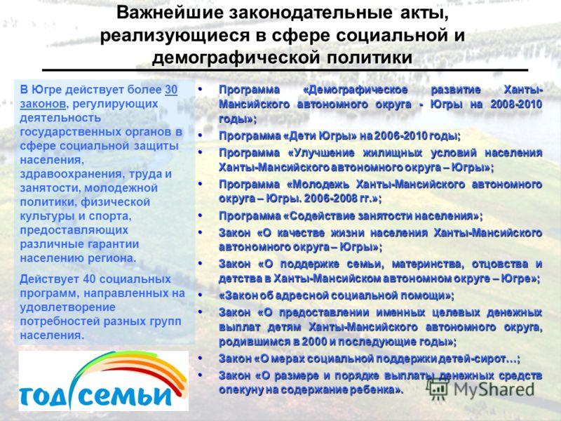 Программа «Демографическое развитие Ханты- Мансийского автономного округа - Югры на 2008-2010 годы»; Программа «Демографическое развитие Ханты- Мансийского автономного округа - Югры на 2008-2010 годы»; Программа «Дети Югры» на 2006-2010 годы; Програм