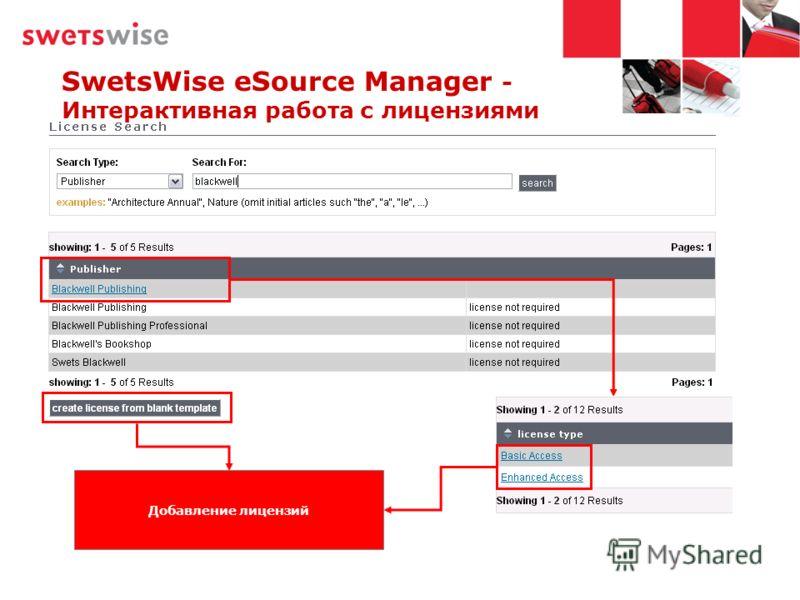 SwetsWise eSource Manager - Интерактивная работа с лицензиями Добавление лицензий