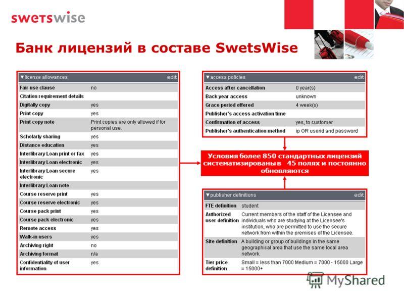 Банк лицензий в составе SwetsWise Условия более 850 стандартных лицензий систематизированы в 45 полях и постоянно обновляются