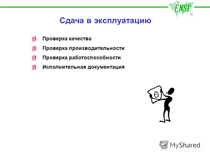 Сдача в эксплуатацию 4Проверка качества 4 Проверка производительности 4 Проверка работоспособности 4 Исполнительная документация