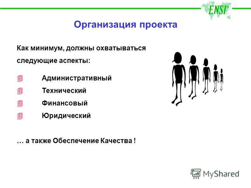 Как минимум, должны охватываться следующие аспекты: 4Административный 4Технический 4Финансовый 4Юридический … а также Обеспечение Качества ! Организация проекта
