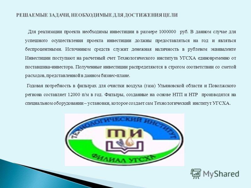 Для реализации проекта необходимы инвестиции в размере 1000000 руб. В данном случае для успешного осуществления проекта инвестиции должны предоставляться на год и являться беспроцентными. Источником средств служит денежная наличность в рублевом эквив