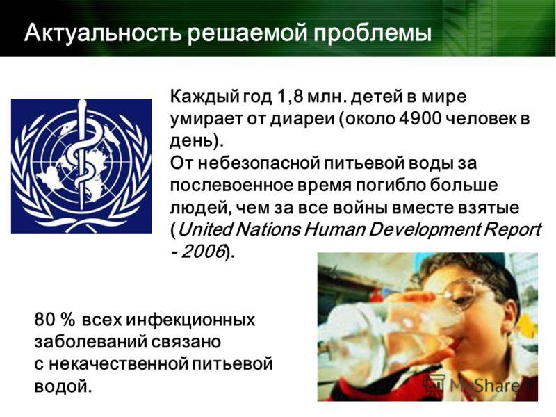 Каждый год 1,8 млн. детей в мире умирает от диареи (около 4900 человек в день). От небезопасной питьевой воды за послевоенное время погибло больше людей, чем за все войны вместе взятые (United Nations Human Development Report - 2006). Актуальность ре