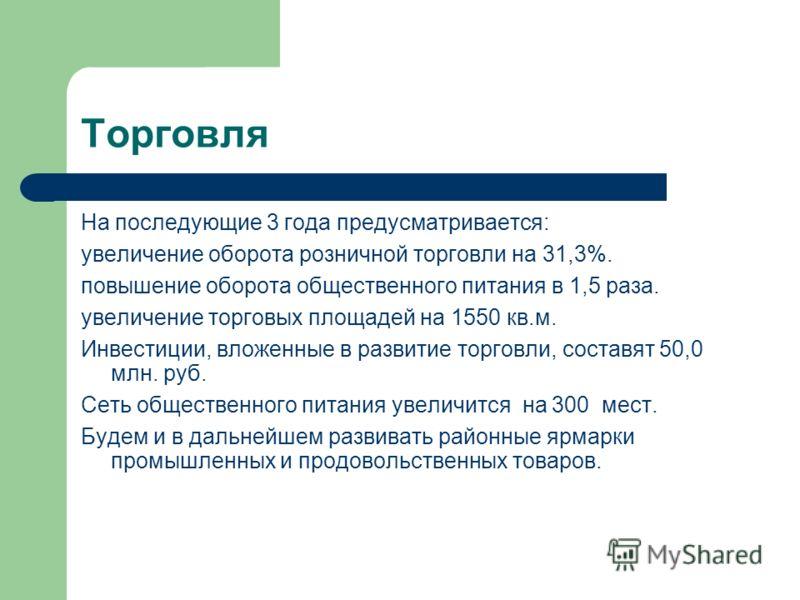 Торговля На последующие 3 года предусматривается: увеличение оборота розничной торговли на 31,3%. повышение оборота общественного питания в 1,5 раза. увеличение торговых площадей на 1550 кв.м. Инвестиции, вложенные в развитие торговли, составят 50,0