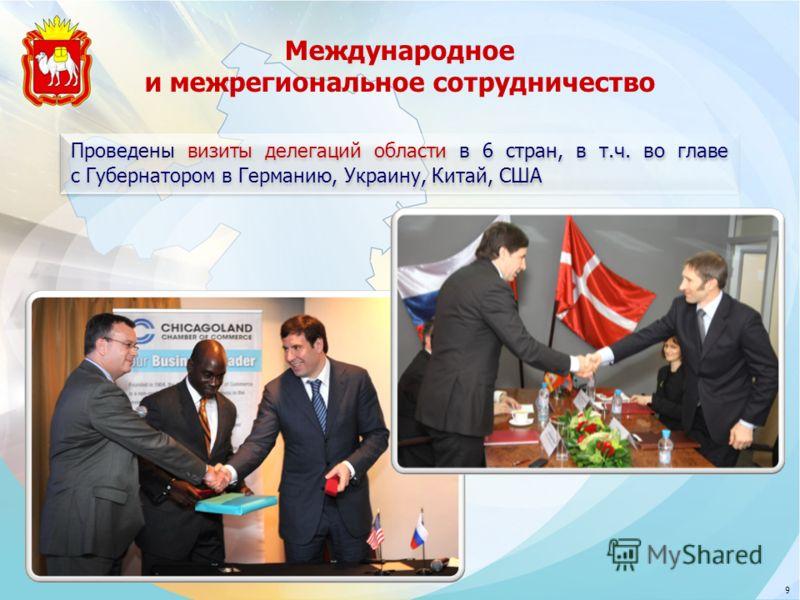 Международное и межрегиональное сотрудничество Проведены визиты делегаций области в 6 стран, в т.ч. во главе с Губернатором в Германию, Украину, Китай, США 9