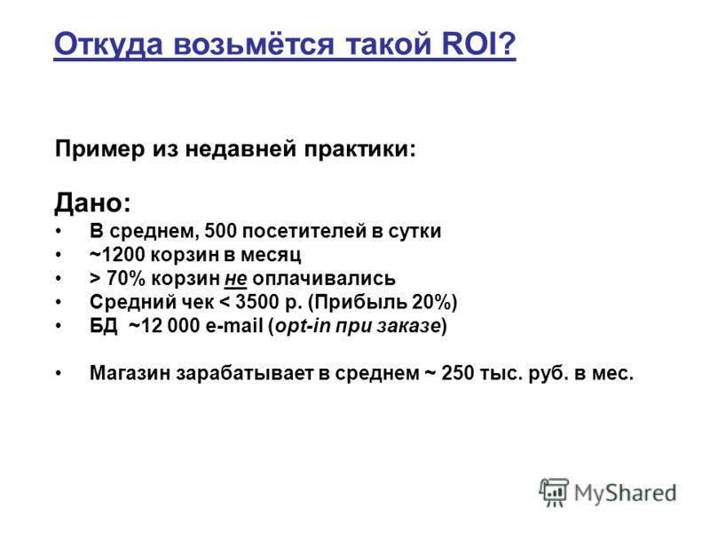 Откуда возьмётся такой ROI? Дано: В среднем, 500 посетителей в сутки ~1200 корзин в месяц > 70% корзин не оплачивались Средний чек < 3500 р. (Прибыль 20%) БД ~12 000 e-mail (opt-in при заказе) Магазин зарабатывает в среднем ~ 250 тыс. руб. в мес. При