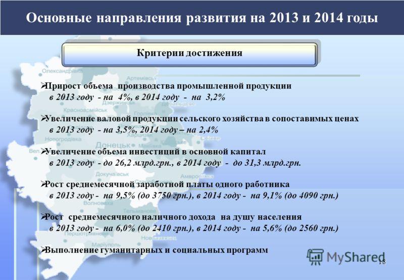 Прирост объема производства промышленной продукции в 2013 году - на 4%, в 2014 году - на 3,2% Увеличение валовой продукции сельского хозяйства в сопоставимых ценах в 2013 году - на 3,5%, 2014 году – на 2,4% Увеличение объема инвестиций в основной кап