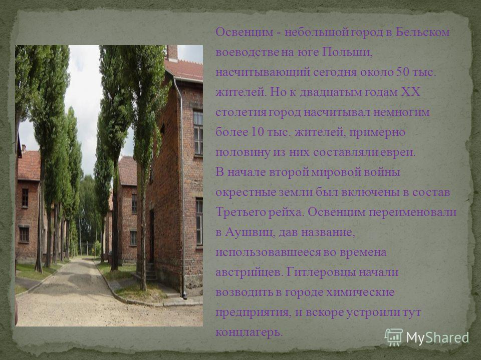 Освенцим - небольшой город в Бельском воеводстве на юге Польши, насчитывающий сегодня около 50 тыс. жителей. Но к двадцатым годам ХХ столетия город насчитывал немногим более 10 тыс. жителей, примерно половину из них составляли евреи. В начале второй