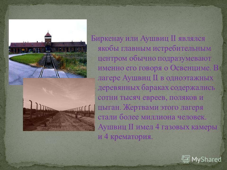 Биркенау или Аушвиц II являлся якобы главным истребительным центром обычно подразумевают именно его говоря о Освенциме. В лагере Аушвиц II в одноэтажных деревянных бараках содержались сотни тысяч евреев, поляков и цыган. Жертвами этого лагеря стали б