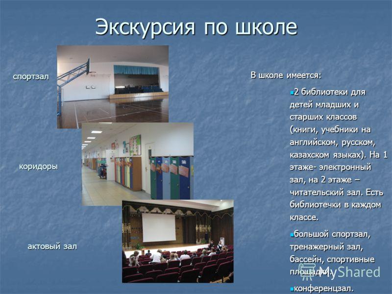 Экскурсия по школе спортзал коридоры актовый зал В школе имеется: 2 библиотеки для детей младших и старших классов (книги, учебники на английском, русском, казахском языках). На 1 этаже- электронный зал, на 2 этаже – читательский зал. Есть библиотечк