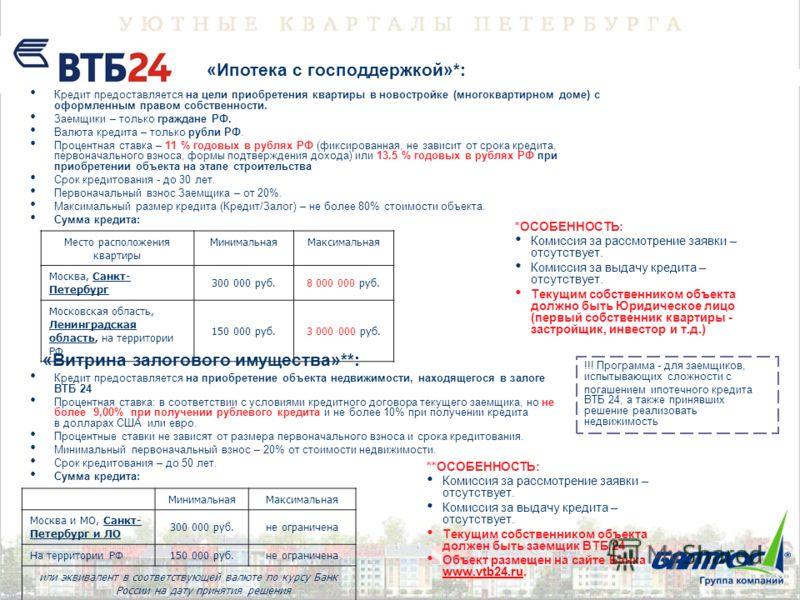 «Ипотека с господдержкой»*: Кредит предоставляется на цели приобретения квартиры в новостройке (многоквартирном доме) с оформленным правом собственности. Заемщики – только граждане РФ. Валюта кредита – только рубли РФ. Процентная ставка – 11 % годовы