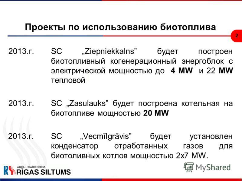 2 Проекты по использованию биотоплива 2013.г.SC Ziepniekkalns будет построен биотопливный когенерационный энергоблок с электрической мощностью до 4 MW и 22 MW тепловой 2013.г.SC Zasulauks будет построена котельная на биотопливе мощностью 20 MW 2013.г
