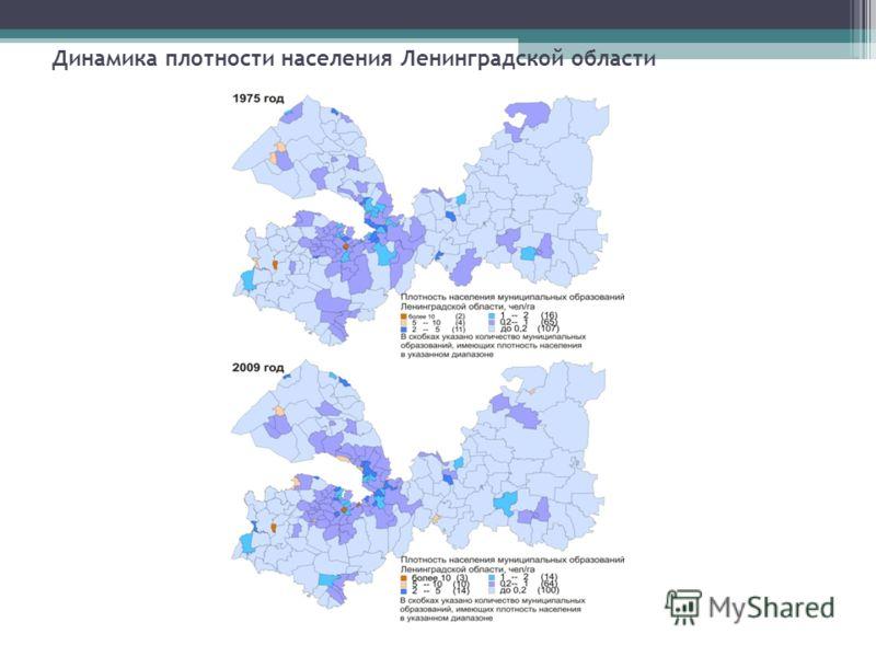 Динамика плотности населения Ленинградской области