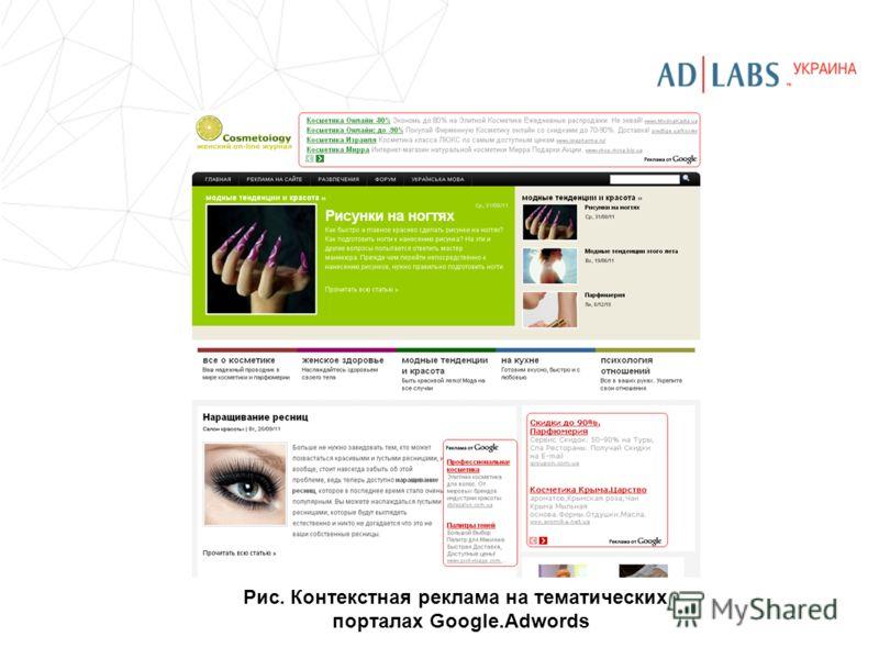 Рис. Контекстная реклама на тематических порталах Google.Adwords