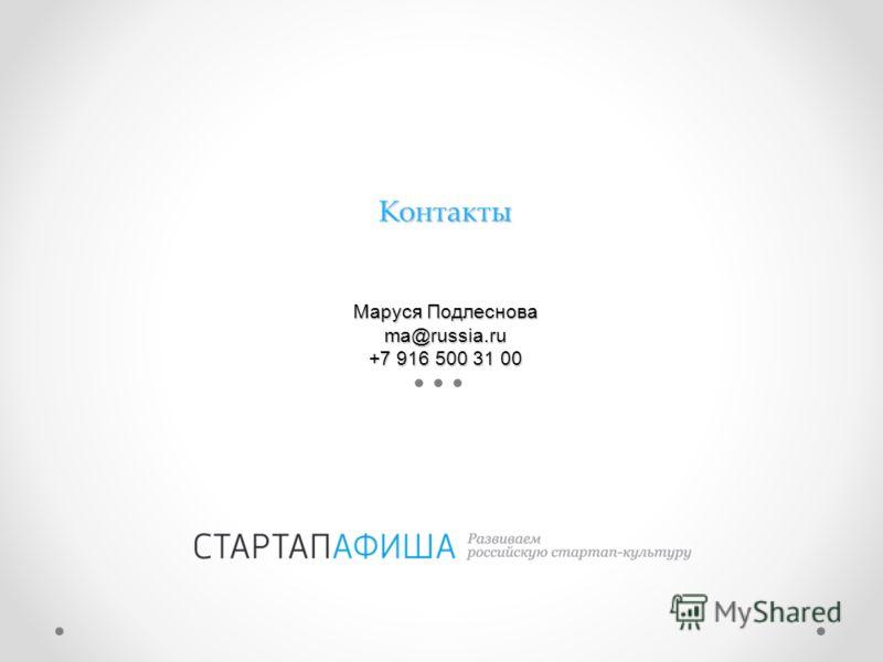 Контакты Маруся Подлеснова ma@russia.ru +7 916 500 31 00