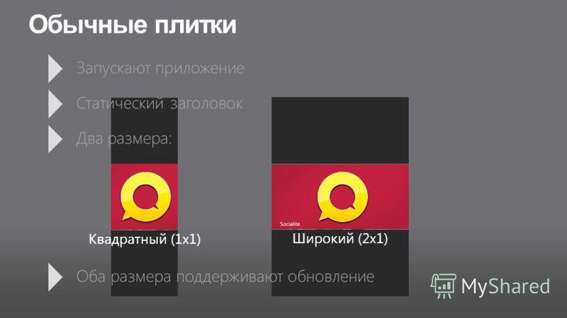 Квадратный (1x1) Широкий (2x1) Обычные плитки Оба размера поддерживают обновление Запускают приложение Статический заголовок Два размера: