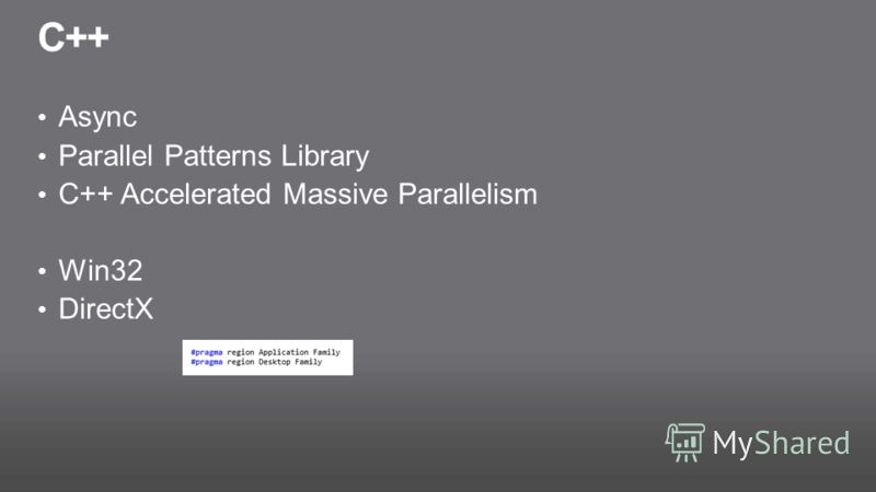 C++ Async Parallel Patterns Library С++ Accelerated Massive Parallelism Win32 DirectX